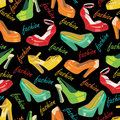 Colorful fashion womens shoes in seamless pattern. Stock Photos