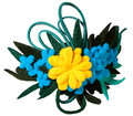 Colorful felt adornment yelliw cyan green Stock Photos