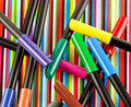 Colorful felt tip colored marker pens on paper Stock Image