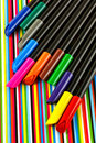 Colorful felt tip colored marker pens on paper Royalty Free Stock Photos