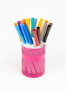 Colorful felt tip pens in can Royalty Free Stock Photo