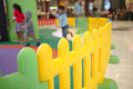 Colorful fence a playground in departmentstore. shot of indoor a