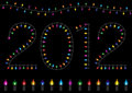 Colorful Festive Glow Light - 2012 Happy New Year Royalty Free Stock Photo
