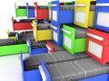 Colorful file cabinets filled with papers computer render Stock Image