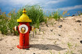 Colorful fire hydrant on the beach Stock Photo