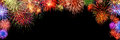 Colorful fireworks, arch shaped border on black Royalty Free Stock Photo