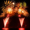 Colorful fireworks beautiful the festival Stock Photos