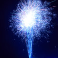 Colorful fireworks blue on the black sky background Royalty Free Stock Images