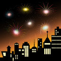 Vector of colorful fireworks celebration display in sky over the city at night scene Royalty Free Stock Photo