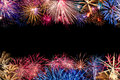 Colorful fireworks display border a very of different with copyspace in the middle of the image Stock Photography