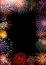 Colorful fireworks frame Royalty Free Stock Image