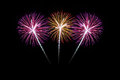 Colorful fireworks over dark sky beautiful Royalty Free Stock Photography
