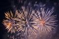Colorful fireworks over dark sky displayed during a celebration in novomoskovsk Stock Image