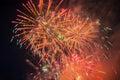 Colorful fireworks over dark sky displayed during a celebration in novomoskovsk Stock Photo