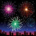 Colorful fireworks over night sky vector illustration Royalty Free Stock Image