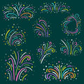 Colorful fireworks set . Holiday and party firework icons collection. Vector illustration. Royalty Free Stock Photo