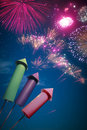 Colorful fireworks setup at night Royalty Free Stock Images