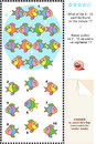 Colorful fish visual logic puzzle what can not be found picture answer included Stock Photo
