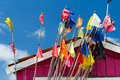 Colorful fisherman flags at oleron island in france Stock Photos