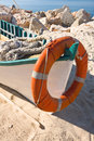 Colorful fishing boat with old rope Royalty Free Stock Image