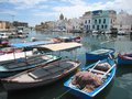 Colorful fishing boats old harbour bizerte tunisia Stock Photo