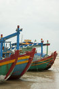 Colorful fishing boats on the sea anchored Royalty Free Stock Photo