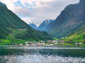 Colorful fishing village and mountain landscape of Sognefjord. N Royalty Free Stock Photo