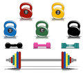 Colorful fitness equipment collection of Stock Image