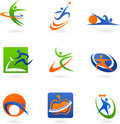Colorful fitness icons and logos Stock Photo