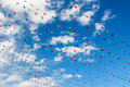 Colorful flags in the sky Royalty Free Stock Photo
