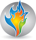 Colorful flame logo illustration art of a with isolated background Royalty Free Stock Photography