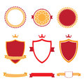 Colorful flat design badges collection. Vector badges, labels and ribbon banners.