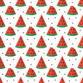 Colorful flat design watermelon slices seamless pattern background Royalty Free Stock Photo