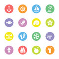 Colorful flat summer icon set on circle
