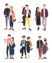 Colorful flat illustratuion set with stylish young couples. Beautiful people.