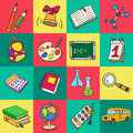 Colorful flat school icons.