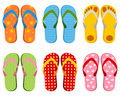 Colorful flip flops collection set of six or beach sandals isolated on white background Royalty Free Stock Images