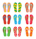 Colorful flip flops set illustration on white background Royalty Free Stock Photo