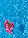 Colorful flipflops floating in a swimming pool Royalty Free Stock Photography