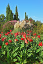 A colorful fllowers the famous garden park sigurta in italy with red yellow and green leaves Royalty Free Stock Photo