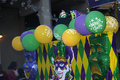 Colorful float in mardi gras parade a with mask and balloons Stock Photography