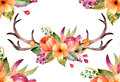 Colorful floral bouquet with leaves, horns and flowers, drawing watercolor.