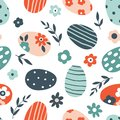 Colorful floral Easter seamless pattern
