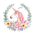 Colorful floral pastel template card with peony,flowers,branches,eucalyptus leaves and cute unicorn