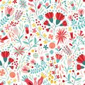 Colorful floral seamless pattern with berries, leaves and flowers on white background. Decorative botanical backdrop