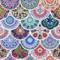 Colorful floral seamless pattern from circles with mandala in patchwork boho chic style Royalty Free Stock Photo