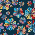 Colorful floral seamless Pattern - color explosion, cute Flowers on dark blue background - Great as textile print, carnival party