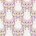 Colorful floral seamless pattern with leafs with rhombus structure Royalty Free Stock Images