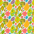 Colorful floral seamless pattern with leaves and Stock Image