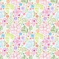 Colorful floral seamless pattern with leaves and doodles ornament theme for your design Stock Image